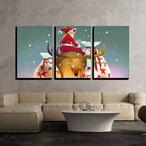 Wall26 3 piece canvas wall art illustration santa claus sitting on his reindeer