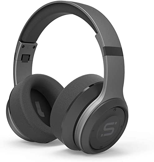 SoMi Infinite Over Ear Bluetooth Headphones, Wireless Headset, Foldable, Adjustable, Comfortable Protein Earmuffs w/Built-in Mic and Wired Mode for PC/Cell Phones/TV, Gunmetal