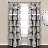 Lush Decor Lace Ruffle Window Curtain Panel, 84' x 52', Gray