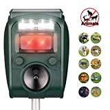 Ultrasonic Repeller, Solar Powered Waterproof Outdoor Animal Repeller with Ultrasonic Sound,Motion Sensor and Flashing Light Repeller for Cats, Dogs, Squirrels, Moles, Rats (A)
