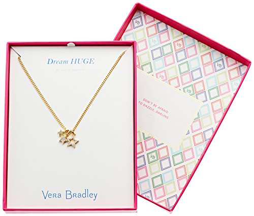 "Charm necklace featuring crystal pavé star details. Gift-packaged in a box that reads ""Dream Huge"""