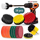 16 Piece Drill Brush Set, Extend Long Attachment, Scrub Pads, Sponge, Power Scrubber Cleaning Kit for Grout, Tile, Carpet, Sink, Bathtub, Bathroom, Shower, Tub, Kitchen, Car, Pool, Boat by Buddy Pro