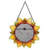 Evergreen Garden Sunflower Metal and Glass Hanging Mesh Bird Feeder - 12.5'W x 3' D x 17' H