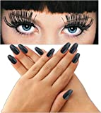 Halloween Accessories Extra Long Black Press On Fingernails Bundled With Jumbo Black Eyelashes Fun For Parties Or Costumes