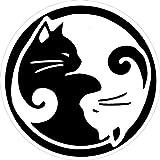 Peace Resource Project Yin Yang Cats - Small Bumper Sticker/Decal (3' Circular)