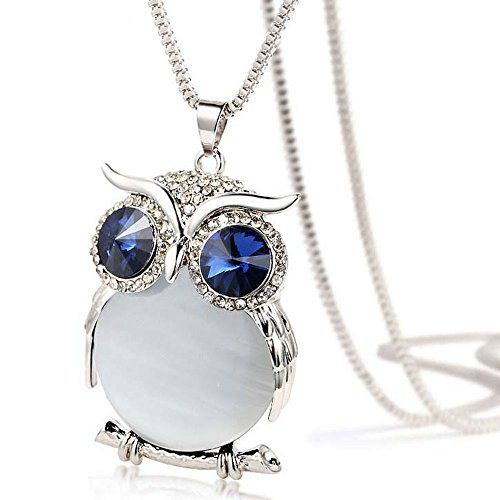 Women Necklace, Owl Pendant Diamond Sweater Chain Long Necklace Jewelry