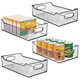 mDesign Wide Stackable Plastic Kitchen Pantry Cabinet, Refrigerator or Freezer Food Storage Bin with Handles - Organizer for Fruit, Yogurt, Snacks, Pasta - BPA Free, 14.5' Long, 4 Pack - Smoke Gray