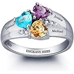 Personalized Mom Rings with 3 Children Birthstones and Names