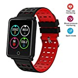 Onbio Smartwatch with All-Day Heart Rate and Activity Tracking, Sleep Monitoring, Ultra-Long Battery Life, Bluetooth, Compatible with iOS and Android (Red)