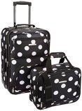Rockland Luggage 2 Piece Printed Luggage Set, Black Dot, Medium