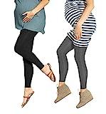 2 Pack Preggers 10-15mmhg Footless Maternity Compression Leggings (Black/Coal M)