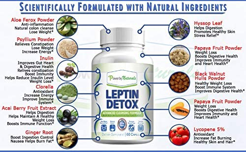 Power By Naturals - Leptin Detox - Advanced Colon Cleanser - Flush Excess Waste and Toxin - Gas, Constipation, Bloating Relief, Super Cleanse for Weight Loss for Women and Men - Vegan - 60 Diet Pills 6