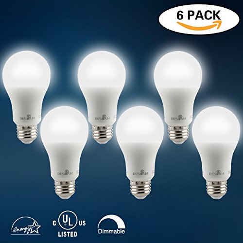 7W LED Light Bulbs(40W Equivalent),A19 Shape,E26 Base,Dimmable,Daylight White(5000K),520 Lumens,UL Listed Energy Saving Home LED Lighting,Pack of 6