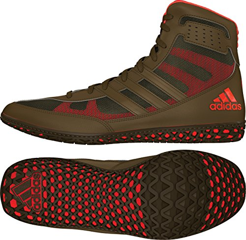 adidas Mat Wizard David Taylor Edition Men's Wrestling Shoes, Olive Green/Orange/Olive Green, Size 10.5
