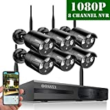 【2019 Update】 OOSSXX HD 1080P 8-Channel Wireless Security Camera System,6 pcs 1080P 2.0 Megapixel Wireless Weatherproof Bullet IP Cameras,Plug Play,70FT Night Vision,P2P,App, No Hard Drive