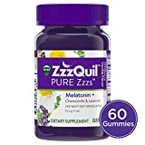 Vicks ZzzQuil PURE Zzzs Melatonin Natural Flavor Sleep Aid Gummies with Chamomile, Lavender, & Valerian Root, 1mg per gummy, 60 ct (Packaging May Vary)