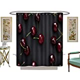 luvoluxhome Shower Curtains Digital Printing red Cherries on Black Background Custom Made Shower Curtain W54 x L78
