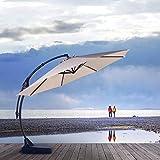 Grand Patio Napoli Deluxe 11 FT Curvy Aluminum Offset Umbrella, Patio Cantilever Umbrella with Base, Champagne