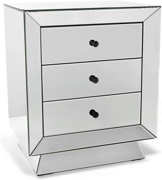 Modern Azul Clear Mirrored Modern 3 Drawer Accent Table