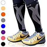 BLITZU Calf Compression Sleeve One Pair Leg Performance Support for Shin Splint & Calf Pain Relief. Men Women Runners Guards Sleeves for Running. Improves Circulation and Recovery Black S/M