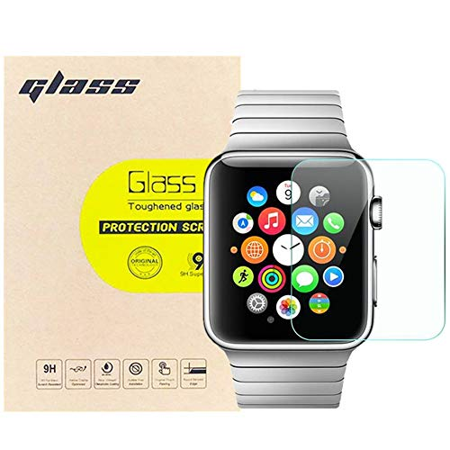 (3-Pack) LUPAPA for Apple Watch Screen Protector (42mm Series 3, 2, 1 Compatible), [Shatter-Proof, Bubble Free, Full Coverage] 9H Hardness High Definition Ultra Clear Tempered Glass Protective Film