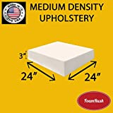 FoamRush Upholstery Foam Medium Density Firm Foam Soft Support (Chair Cushion Square Foam for Dinning Chairs, Wheelchair Seat Cushion Replacement)(3' x 24' x 24')