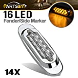 Partsam 14x Clear/Amber 16-LED Trailer Side Marker Lights Sealed for Kenworth, Sealed 6-1/2' Chrome Peterbilt Lights, Flush Mount Style Freightliner Lights