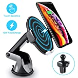 Wireless Car Charger with Touch Sensitive Clamp FLOVEME 10W Fast Wireless Car Charger Mount Phone Holder Qi Wireless Car Charger Compatible for iPhone Xs Max/XR/X/8/8+ Samsung S10/9/8 Note 9 and More
