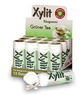 Xylit Kaugummi Grüner Tee - ohne Titandioxid, Inhalt 30 Stk, 12 Packungen