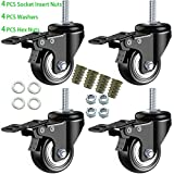 DICASAL 2' Stem Casters, Heavy Duty Swivel Stem Casters PU Foam Quite Mute No Noise Castors Markless Wheels Double Bearings and Locks Loading 300 Lbs Pack of 4 with Brake Black