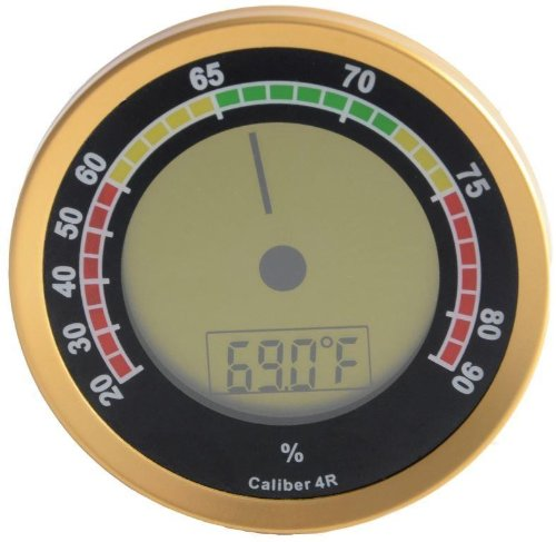 Caliber 4R Gold Digital/Analog Hygrometer by Western Humidor