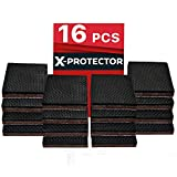 "X-PROTECTOR NON SLIP FURNITURE PADS – PREMIUM 16 pcs 2"" Furniture Grippers! Best SelfAdhesive Rubber Feet Furniture Feet – Ideal Non Skid Furniture Pad Floor Protectors for Fix in Place Furniture"