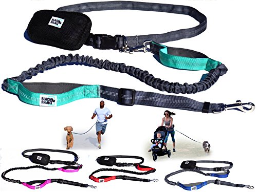 Black Rhino - Premium Hands Free Dog Leash for Running Walking Jogging & Hiking - Adjustable Length Dual Handle Bungee Leash Medium – Large Dogs Neoprene Padded Handles 1