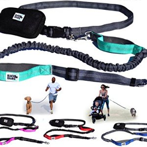 Black Rhino – Premium Hands Free Dog Leash for Running Walking Jogging & Hiking – Adjustable Length Dual Handle Bungee Leash Medium – Large Dogs Neoprene Padded Handles