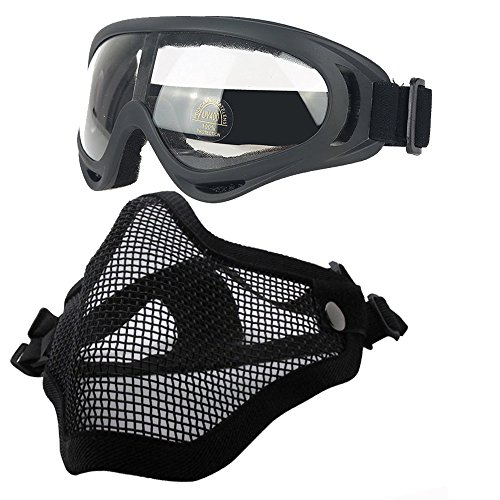 Ydmpro Airsoft Mask - Tactical Steel Mesh Half Face Masks with Goggles Set for CS/Hunting/Paintball/Shooting (Black+Goggles)