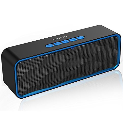 ZoeeTree S1 Wireless Bluetooth Speaker, Outdoor Portable Stereo Speaker with HD Audio and Enhanced Bass, Built-In Dual Driver Speakerphone, Bluetooth 4.2, Handsfree Calling, TF Card Slot