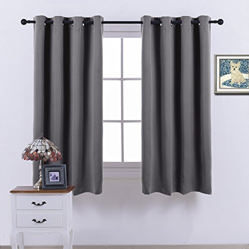 Nicetown Blackout Curtains Window treatment Panel Drapes - (Grey Color) - W52 x L63 Inch ,8 Grommets / Rings Top ,1 Panel