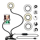 DZSF Selfie LED Ring Light with Cell Phone Mobile Holder for Live Stream Makeup Camera Lamp for iOS Android,Black