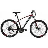 Murtisol Mountain Bike 27.5'' Hybrid Bicycle with Dual Disc Brake, Shimano 21 Speeds Derailleur, Designed Frame, Suspension Fork, Adjustable Seat Red Black