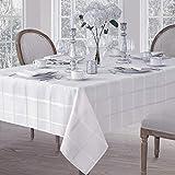 Newbridge Elegance Plaid No-Iron Soil Resistant Fabric Woven Tablecloth - 60 X 102 Oblong - White