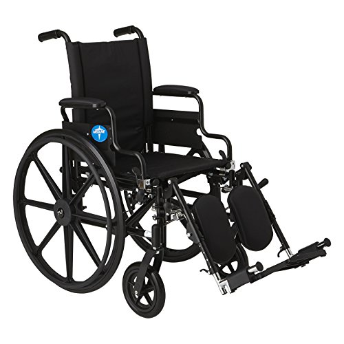 "Medline Premium Ultra-lightweight Wheelchair with Flip-Back Desk Arms and Elevating Leg Rests for Extra Comfort, Black, 16"" x 16' Seat"