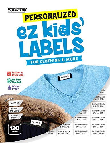 120 Custom Personalized All Purpose Ez Kids' and Adults Clothing Name Labels, Stick-On No-Iron, Washer, Dryer & Dishwasher Safe