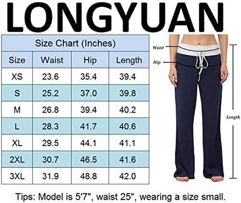 LONGYUAN Women's Comfy Pajama Pants Casual Yoga Pants Drawstring Palazzo Lounge Pants Wide Leg for All Seasons 5