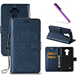 LG G Stylo Case,LG G4 Stylus Case,LEECOCO Fancy Embossed Wallet Case with Card / Cash Slots [Kickstand] Shockproof PU Leather Flip Case Cover for LG G Stylo / G4 Stylus LS770 Elephant Blue