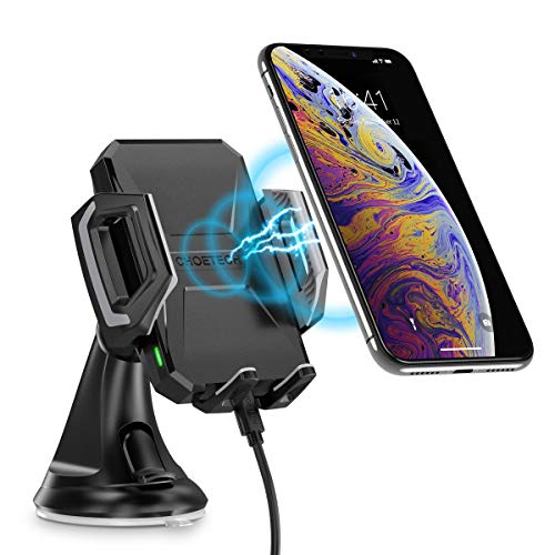 CHOETECH Wireless Car Charger, 10W/7.5W Qi Wireless Fast Charging Car Mount, USB-C Dashboard Phone Holder Compatible with iPhone XS/XS Max/XR/X/8/8+, Samsung S10/S10+/Note 9/S9/S9+/S8/S8+, LG V30