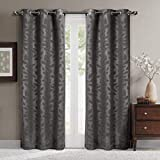 Virginia Gray Grommet Blackout Weave Embossed Window Curtain Panels, Pair / Set of 2 Panels, 37x84 inches Each, by Royal Hotel