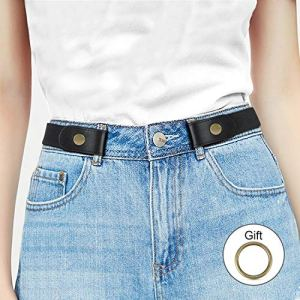 No Buckle Stretch Women Belt for Jeans Pants, Elastic Buckle Free Invisible Belts for Men up to 48 Inches by WHIPPY