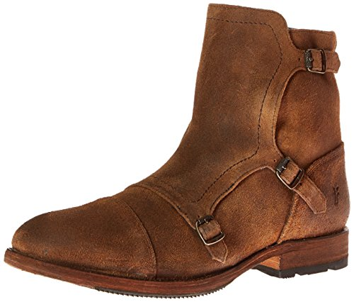 51Wk2YY4aWL Low-cut boot in grained leather with triple monk strap featuring antiqued metal hardware and cap toe Interior side zip