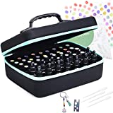 Essential Oil Carrying Organizer Storage Case (Carry Handle On Top) Holds 48-68 Small Bottle Box/Roller Bottles for 5ml 10ml 15ml 20ml 30ml /1oz with Free Writable Labels Opener