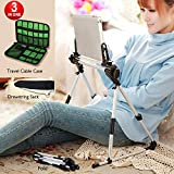Tablet Stand Adjustable,Portable Phone Holder Stand for Bed, Sofa, Floor & Desk, Lazy Man Stand for iPad iPhone Cell phone Galaxy Tab E-reader Indoor & Outdoor with Cable Bag, Drawstring Sack 4-13inch